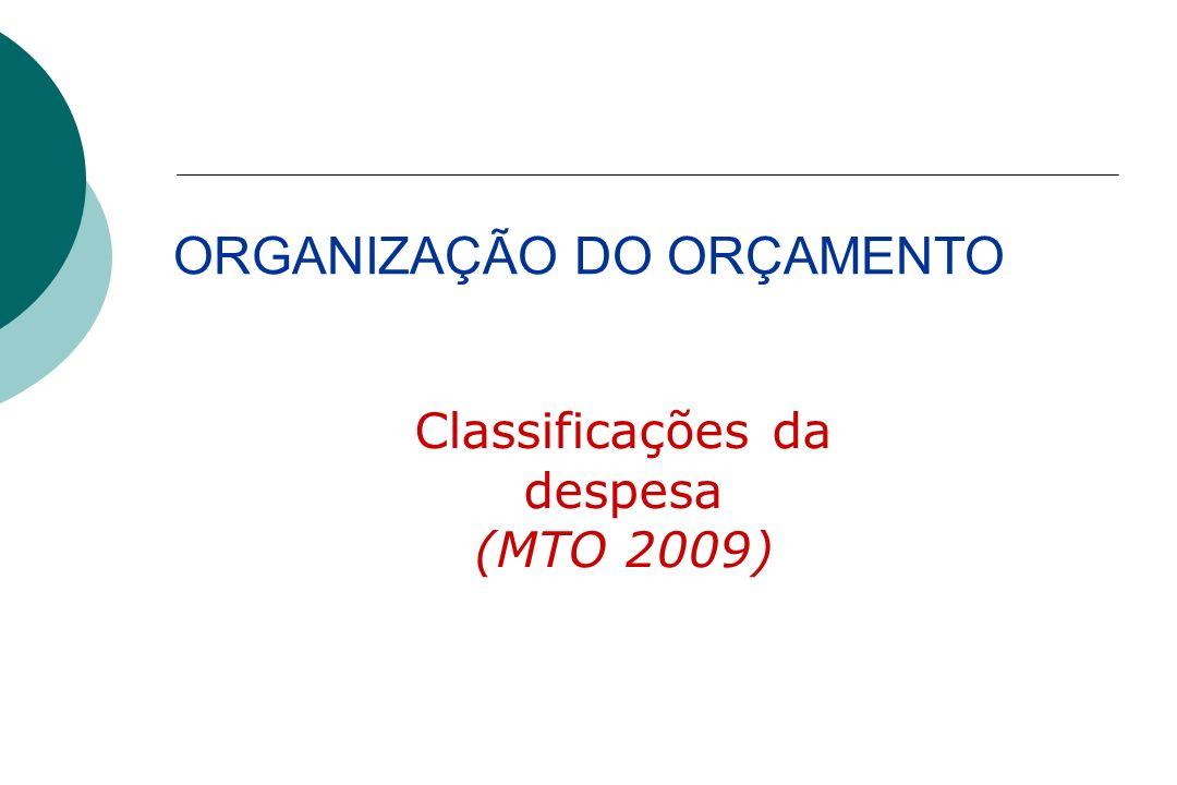 ORGANIZAÇÃO DO ORÇAMENTO