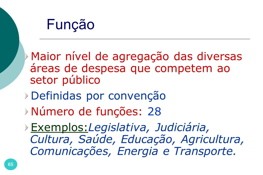 Função Maior nível de agregação das diversas áreas de despesa que competem ao setor público. Definidas por convenção.