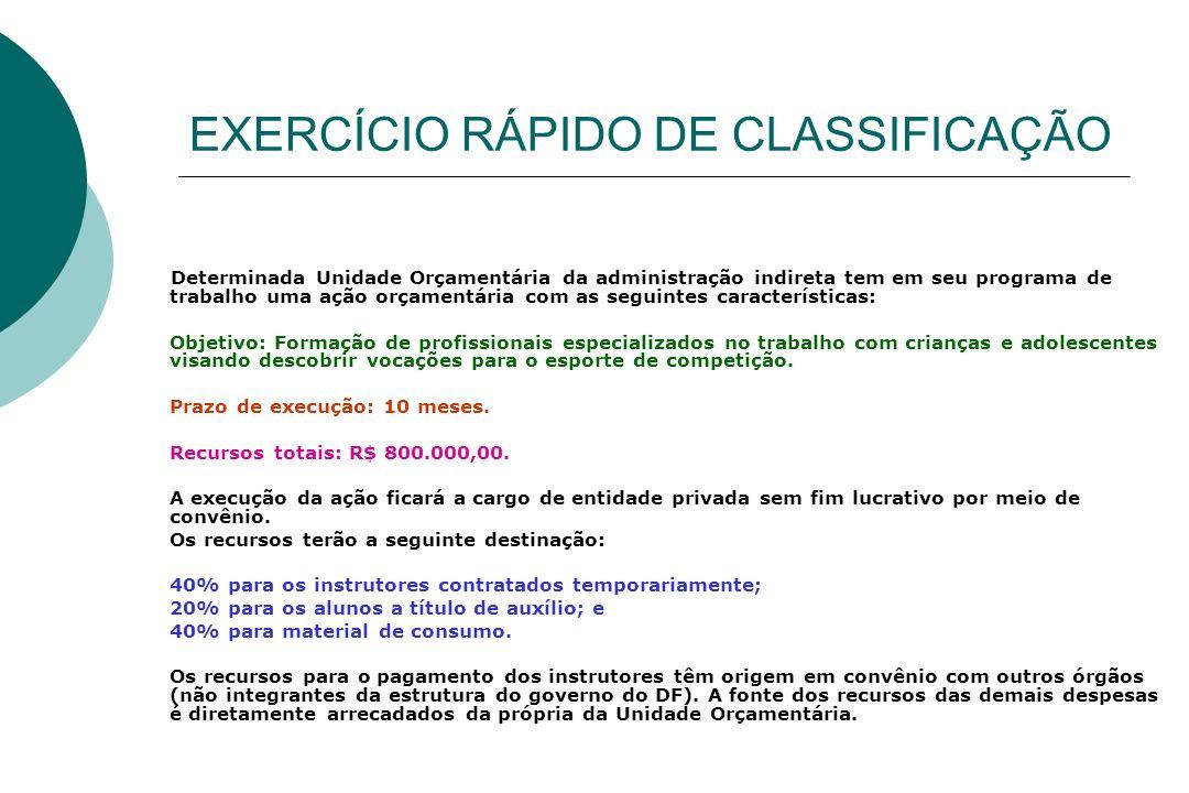 EXERCÍCIO RÁPIDO DE CLASSIFICAÇÃO