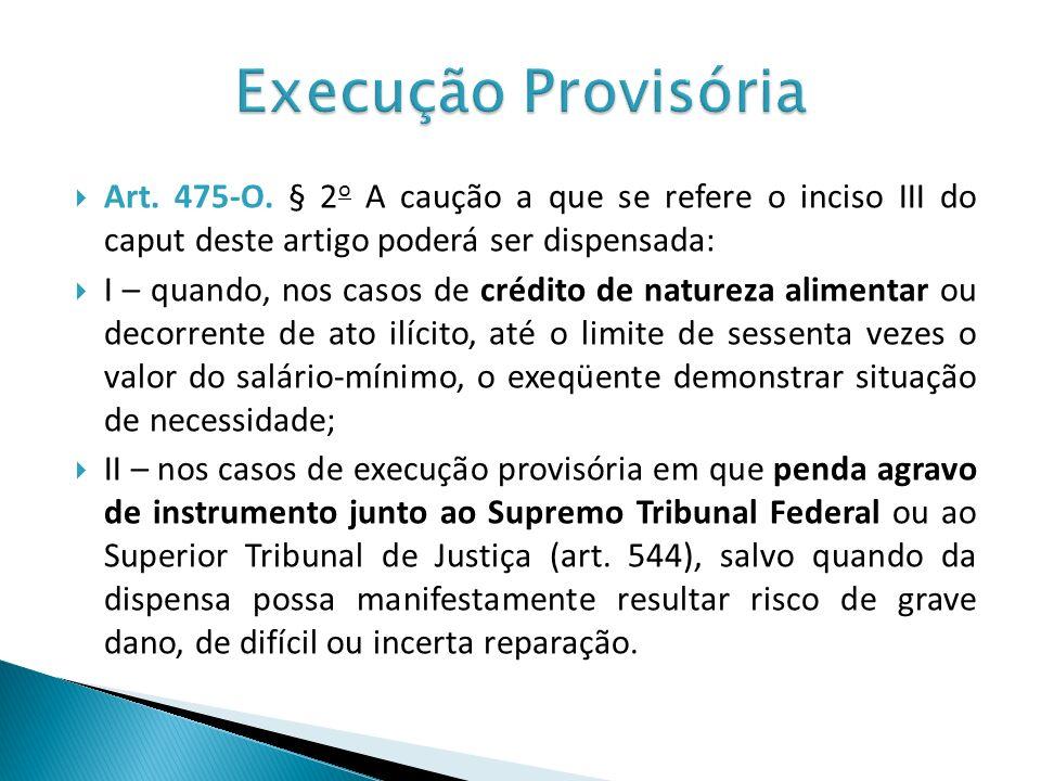 Execução ProvisóriaArt. 475-O. § 2o A caução a que se refere o inciso III do caput deste artigo poderá ser dispensada:
