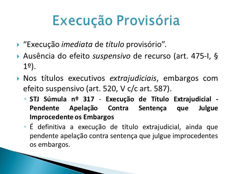 Execução Provisória Execução imediata de título provisório .
