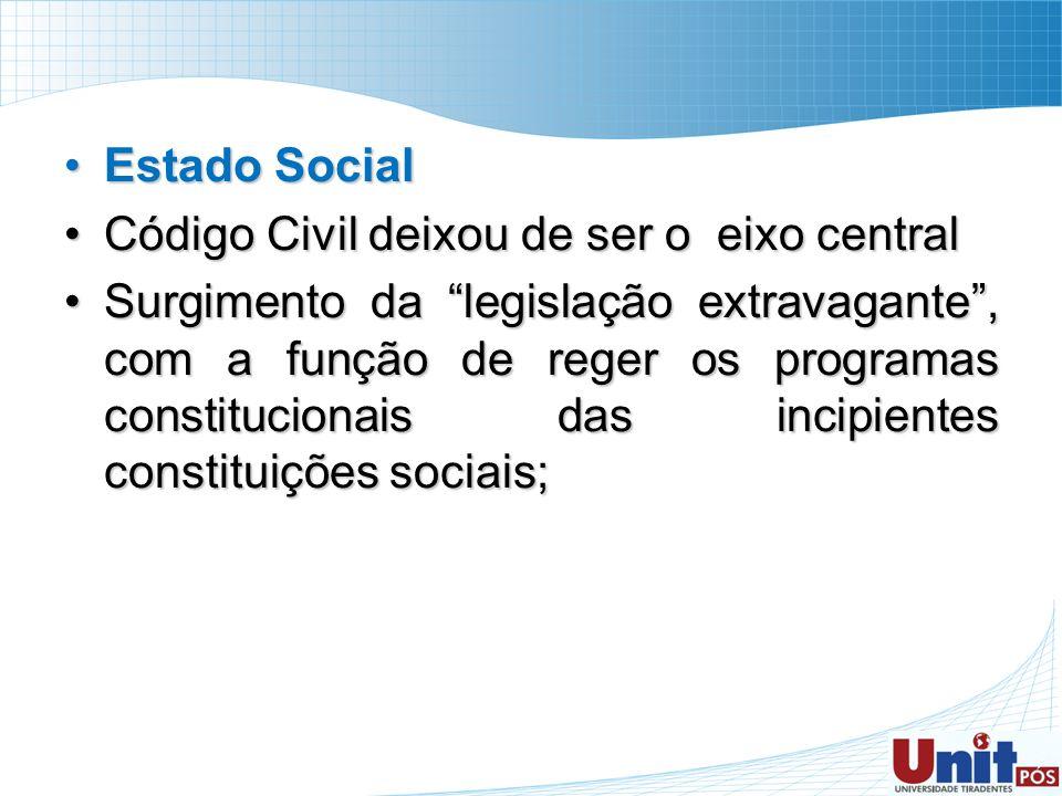 Estado Social Código Civil deixou de ser o eixo central.