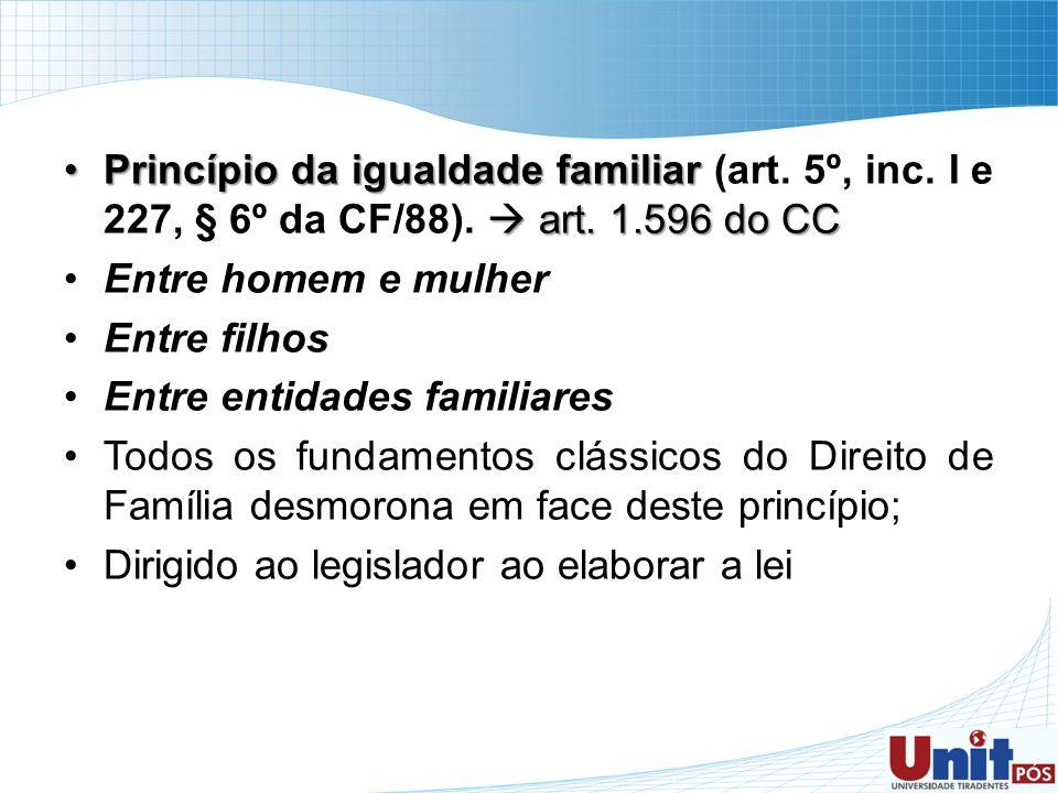 Princípio da igualdade familiar (art. 5º, inc. I e 227, § 6º da CF/88)