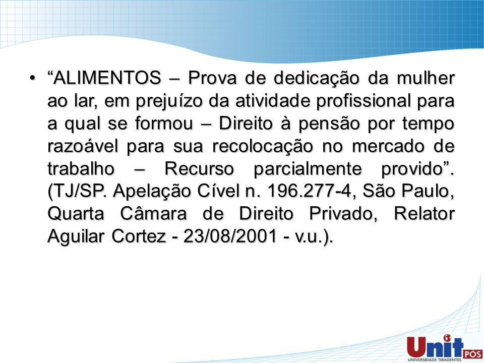 ALIMENTOS – Prova de dedicação da mulher ao lar, em prejuízo da atividade profissional para a qual se formou – Direito à pensão por tempo razoável para sua recolocação no mercado de trabalho – Recurso parcialmente provido .