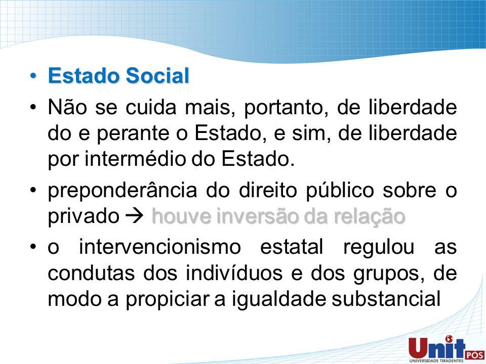 Estado Social Não se cuida mais, portanto, de liberdade do e perante o Estado, e sim, de liberdade por intermédio do Estado.