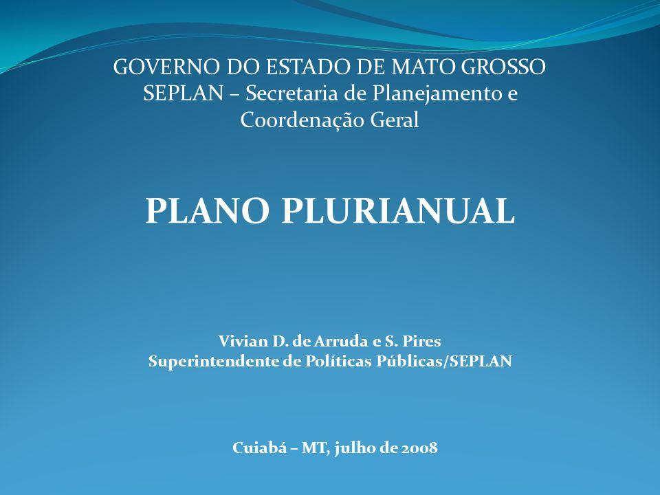 PLANO PLURIANUAL GOVERNO DO ESTADO DE MATO GROSSO