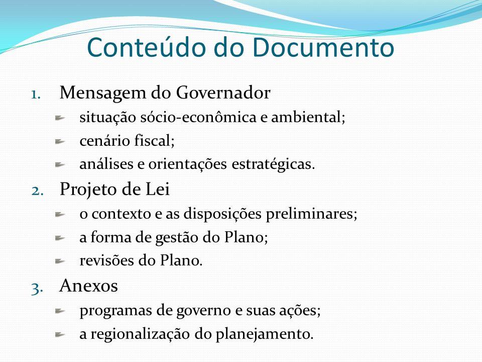 Conteúdo do Documento Mensagem do Governador Projeto de Lei Anexos
