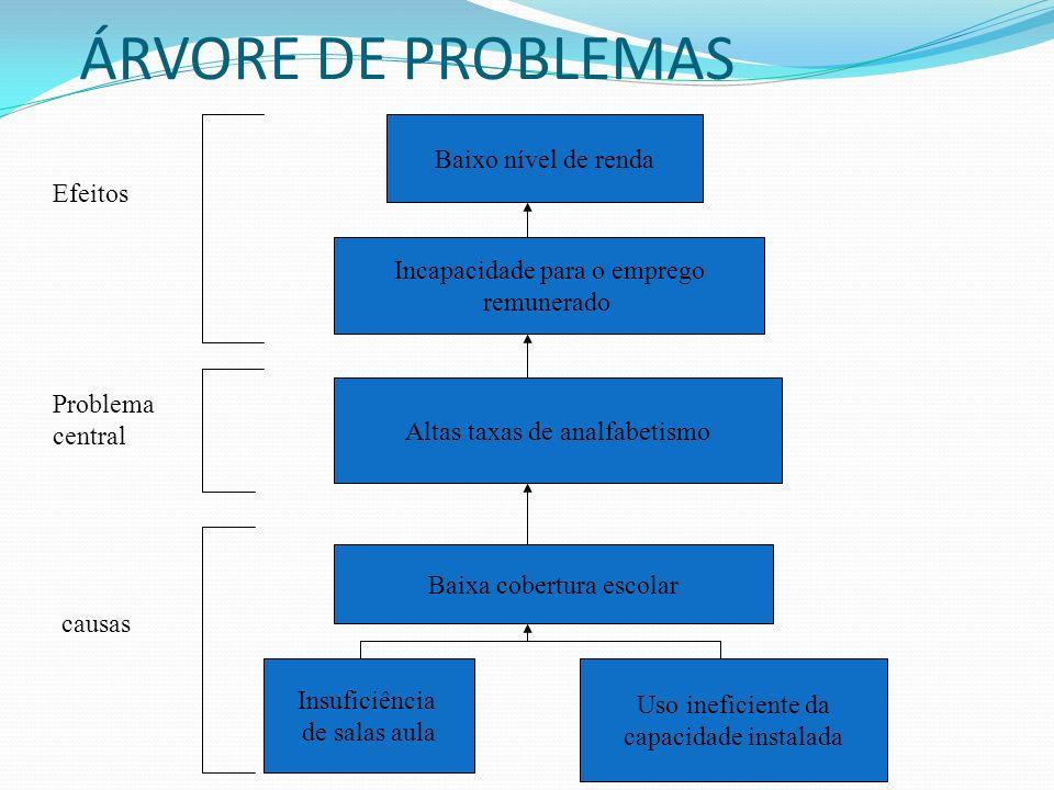 ÁRVORE DE PROBLEMAS Baixo nível de renda Efeitos