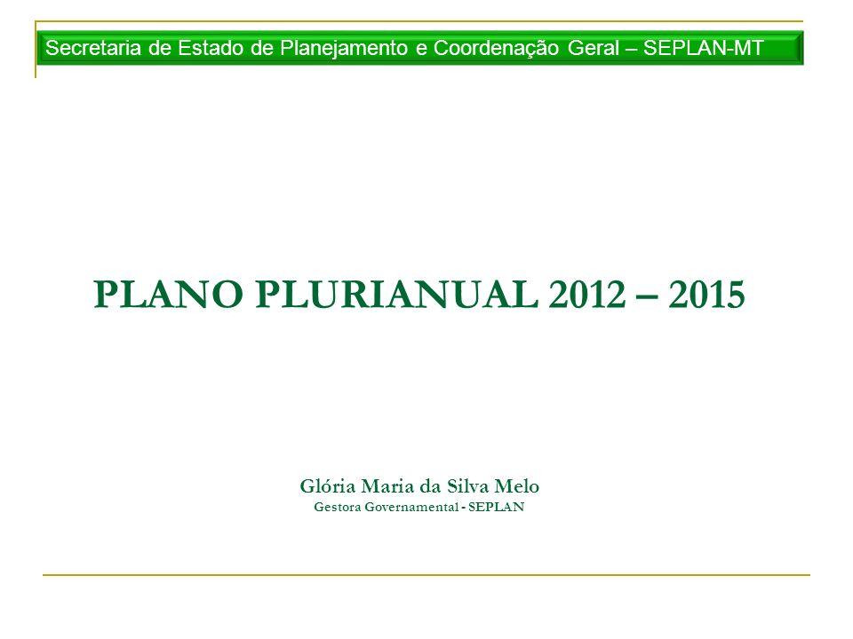 PLANO PLURIANUAL 2012 – 2015 Glória Maria da Silva Melo Gestora Governamental - SEPLAN