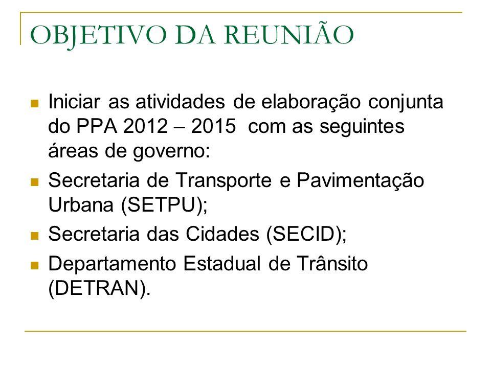 OBJETIVO DA REUNIÃO Iniciar as atividades de elaboração conjunta do PPA 2012 – 2015 com as seguintes áreas de governo: