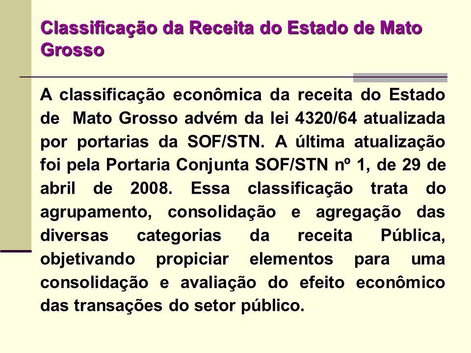 Classificação da Receita do Estado de Mato Grosso