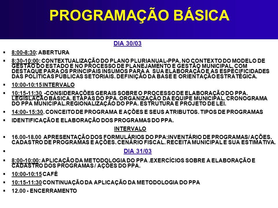 PROGRAMAÇÃO BÁSICA DIA 30/03 8:00-8:30: ABERTURA