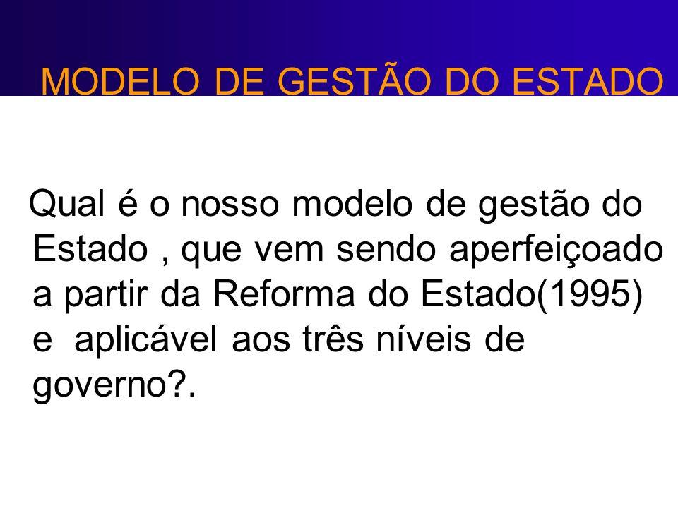 MODELO DE GESTÃO DO ESTADO