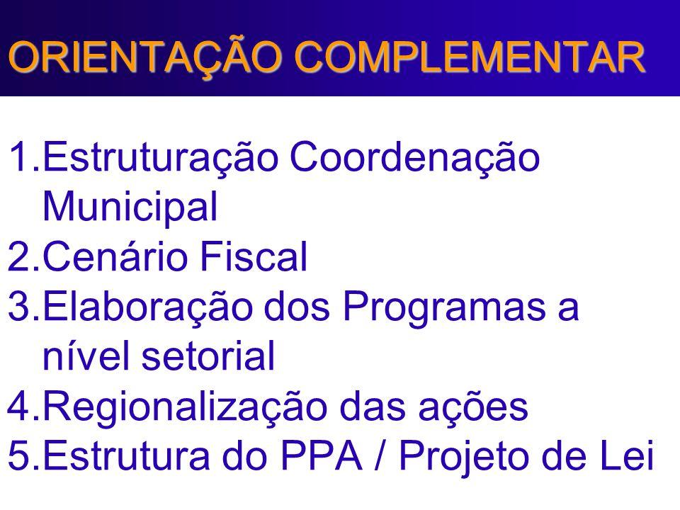 ORIENTAÇÃO COMPLEMENTAR 1. Estruturação Coordenação Municipal 2