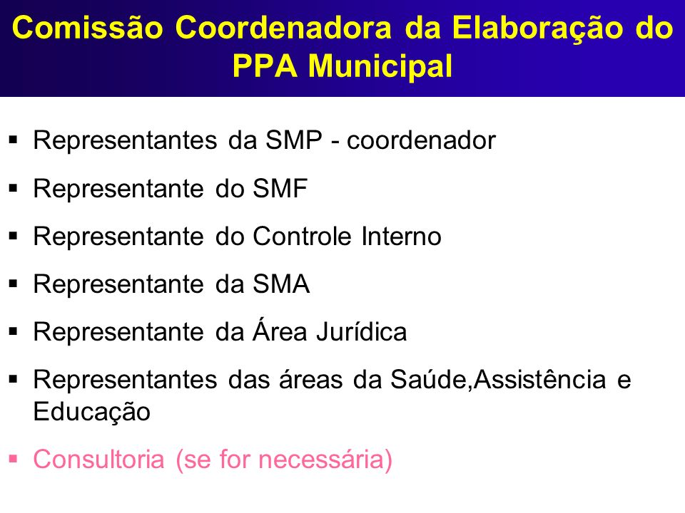 Comissão Coordenadora da Elaboração do PPA Municipal