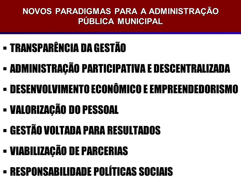 NOVOS PARADIGMAS PARA A ADMINISTRAÇÃO PÚBLICA MUNICIPAL