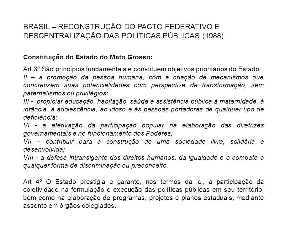 BRASIL – RECONSTRUÇÃO DO PACTO FEDERATIVO E DESCENTRALIZAÇÃO DAS POLÍTICAS PÚBLICAS (1988)