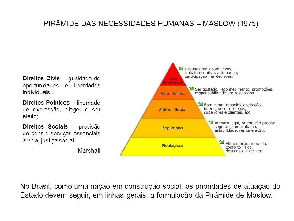 PIRÂMIDE DAS NECESSIDADES HUMANAS – MASLOW (1975)