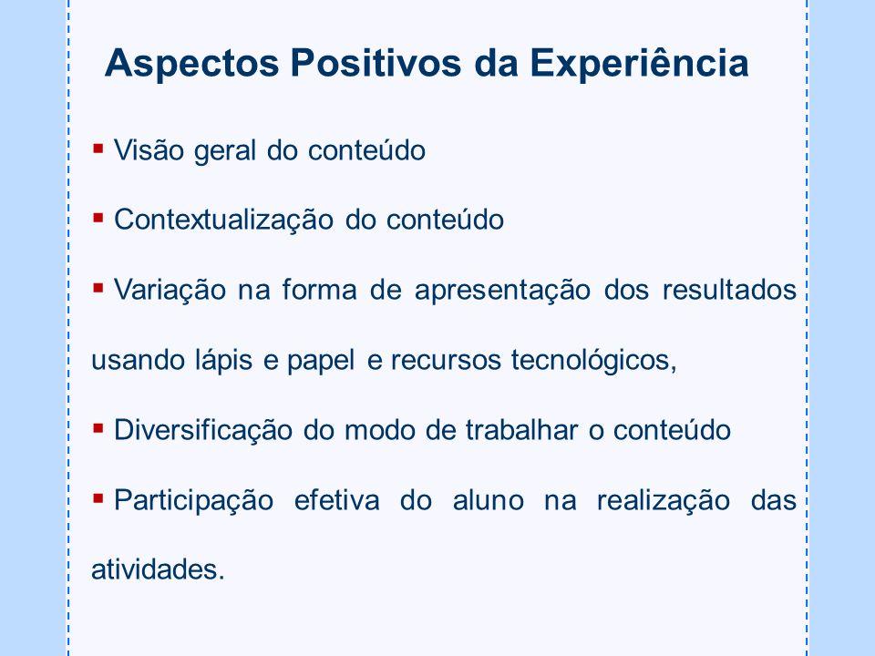 Aspectos Positivos da Experiência