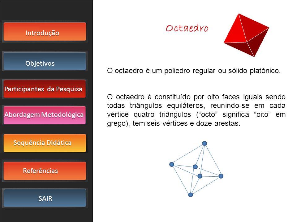 Octaedro O octaedro é um poliedro regular ou sólido platónico.