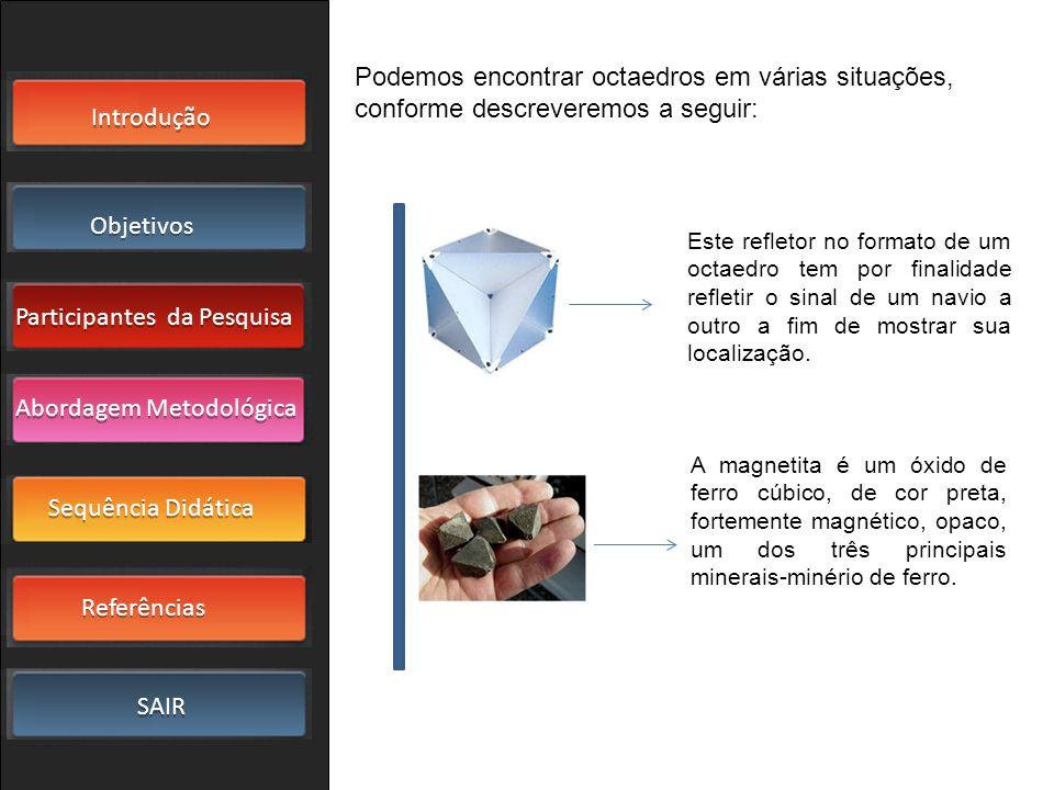 Podemos encontrar octaedros em várias situações, conforme descreveremos a seguir: