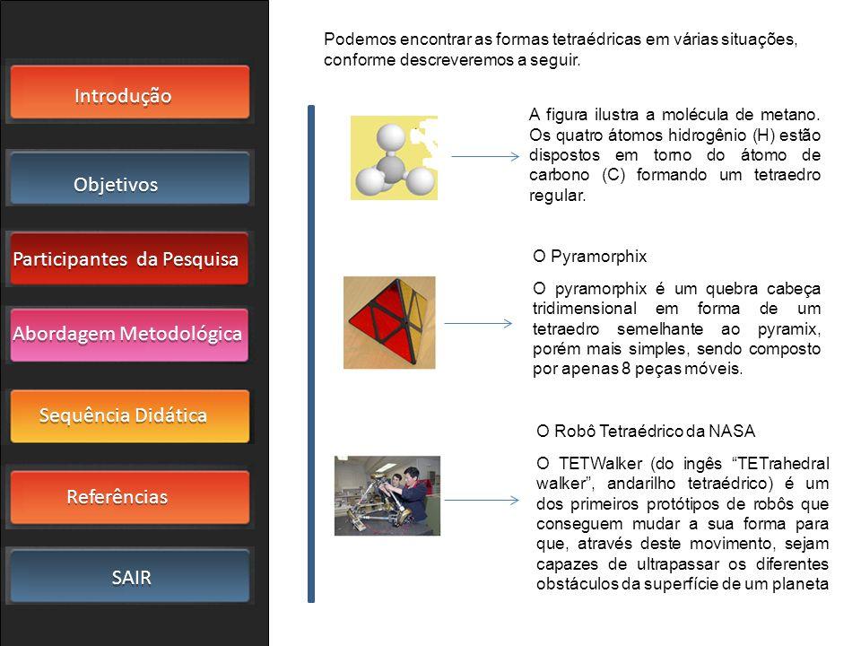 Podemos encontrar as formas tetraédricas em várias situações, conforme descreveremos a seguir.