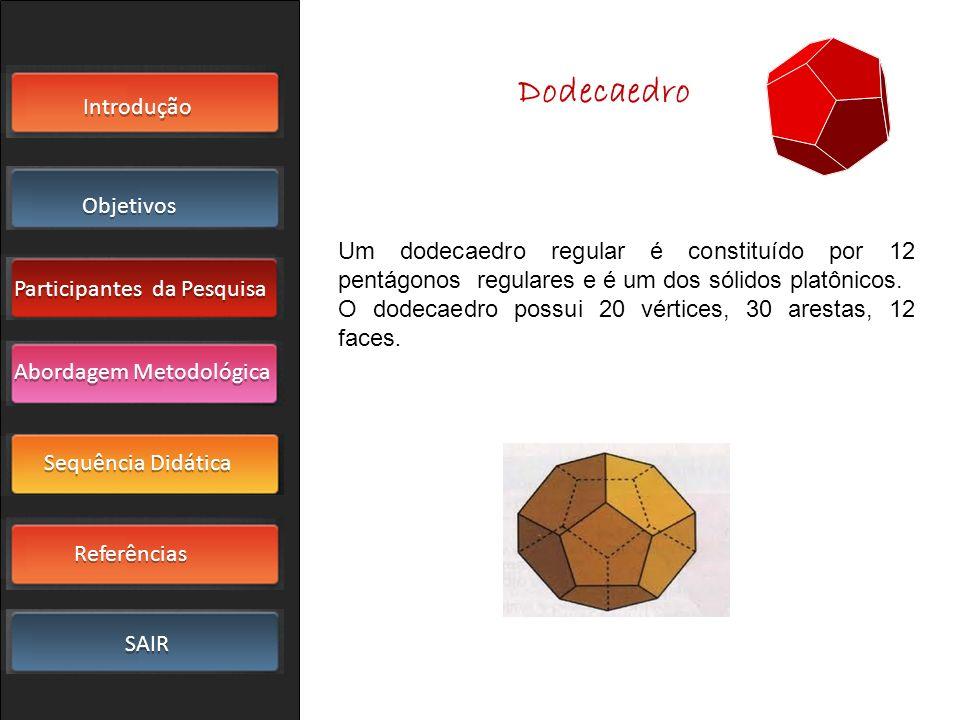 Dodecaedro Um dodecaedro regular é constituído por 12 pentágonos regulares e é um dos sólidos platônicos.