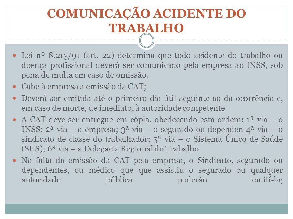 COMUNICAÇÃO ACIDENTE DO TRABALHO