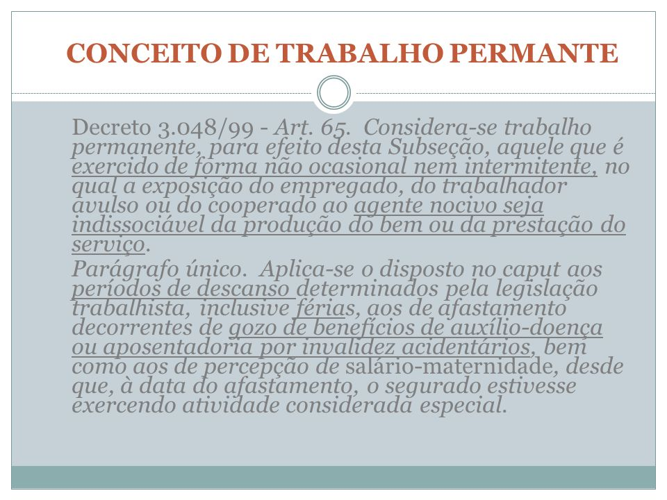 CONCEITO DE TRABALHO PERMANTE
