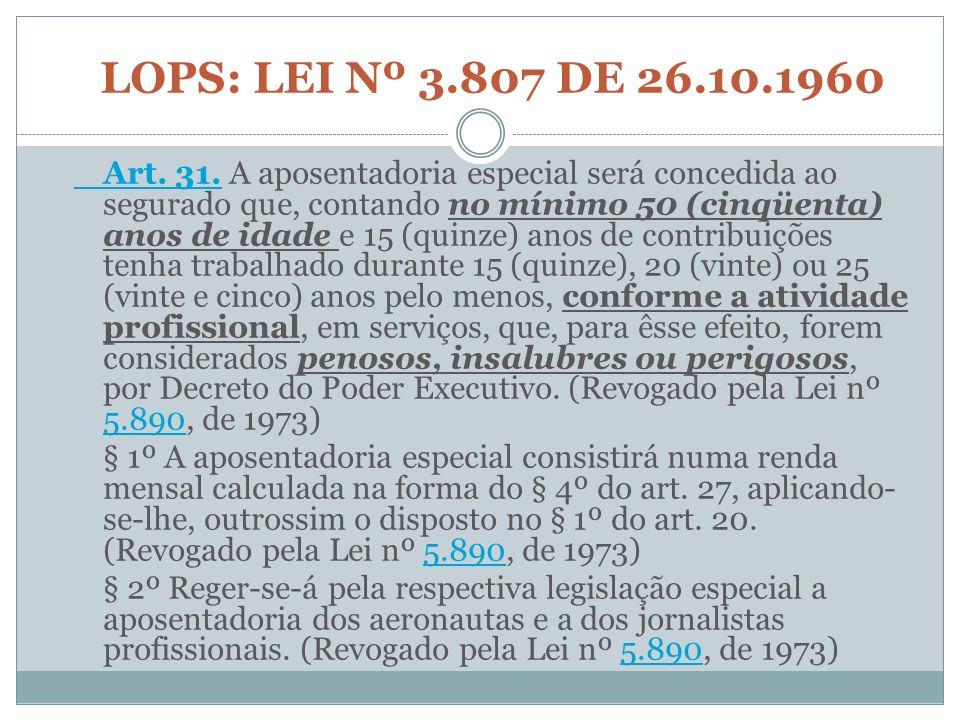 LOPS: LEI Nº 3.807 DE 26.10.1960