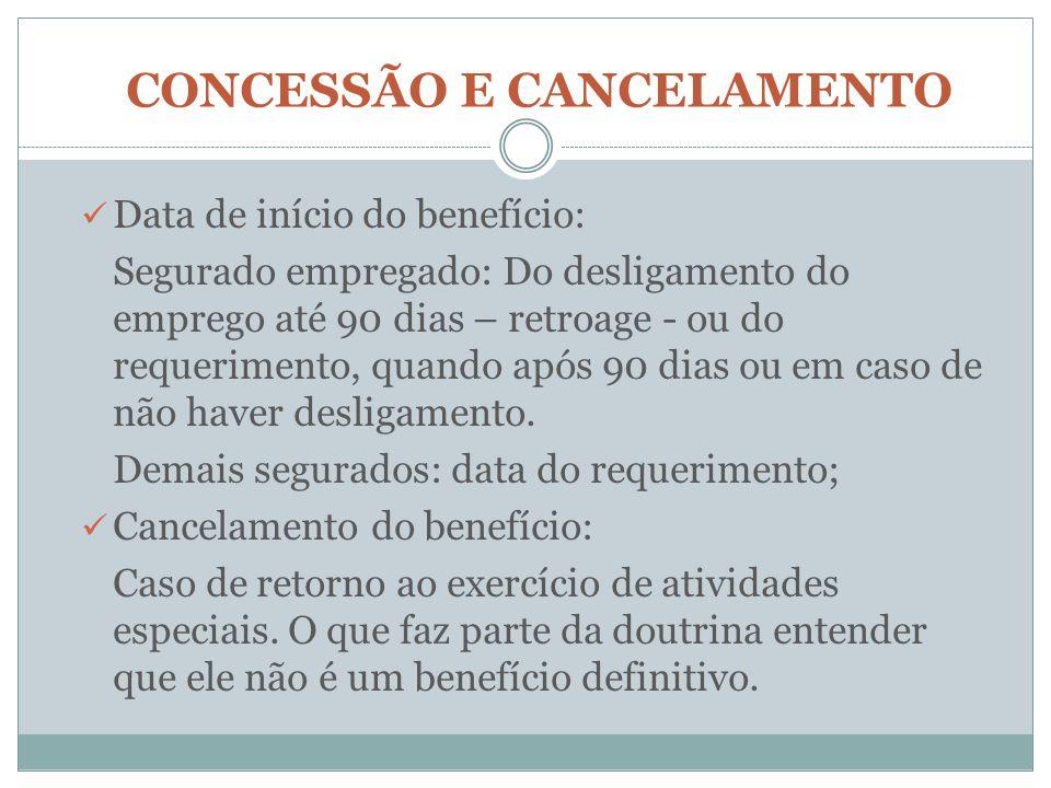 CONCESSÃO E CANCELAMENTO