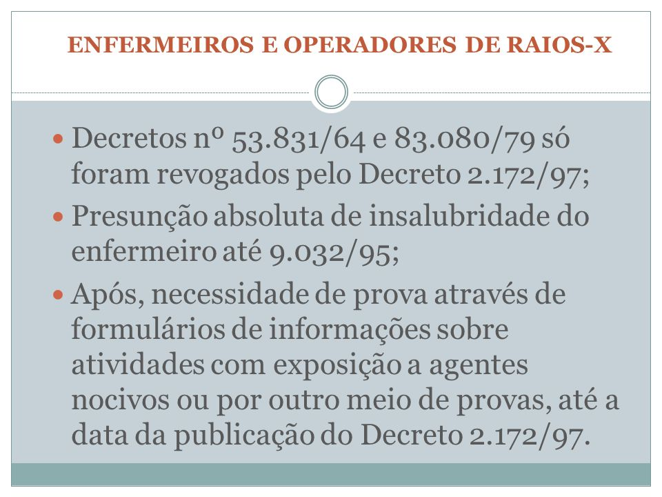 ENFERMEIROS E OPERADORES DE RAIOS-X