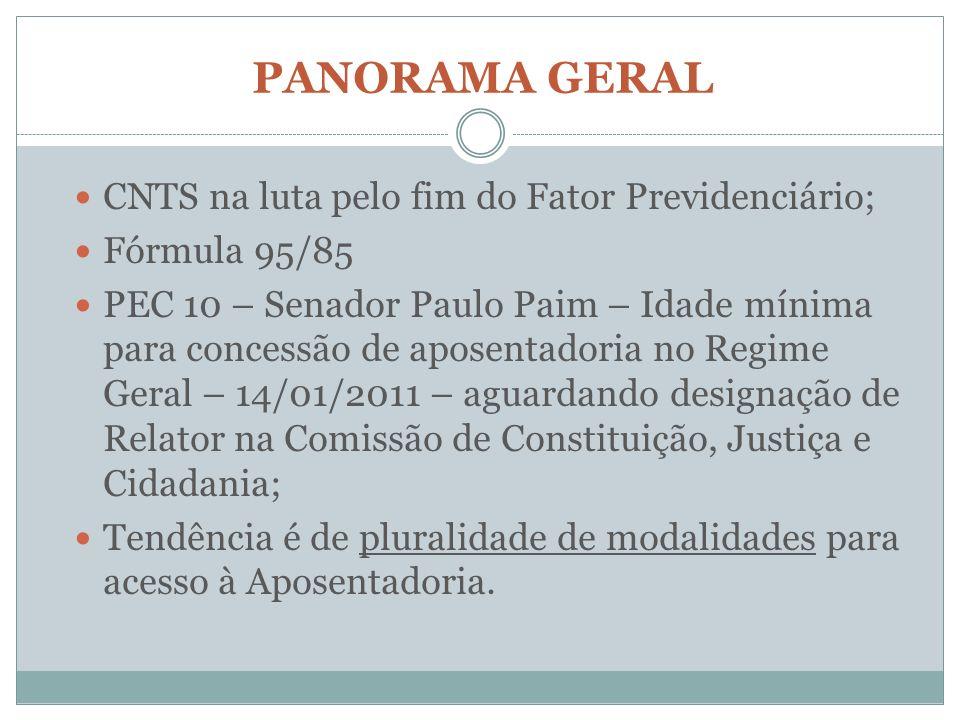PANORAMA GERAL CNTS na luta pelo fim do Fator Previdenciário;