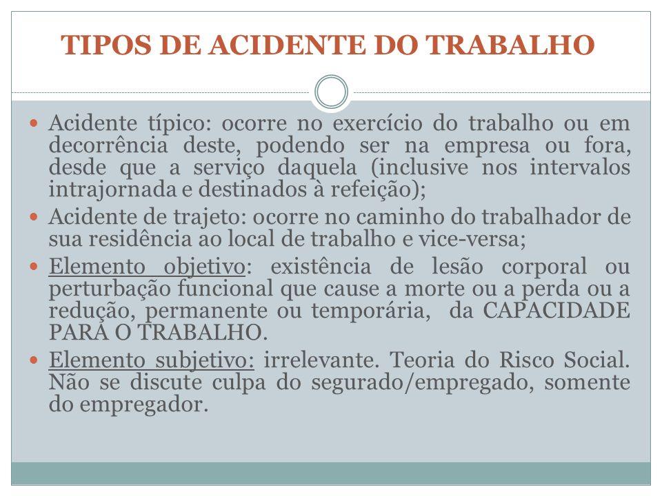 TIPOS DE ACIDENTE DO TRABALHO