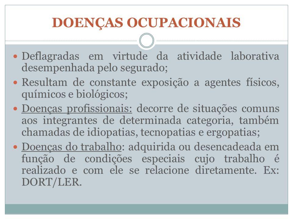 DOENÇAS OCUPACIONAIS Deflagradas em virtude da atividade laborativa desempenhada pelo segurado;