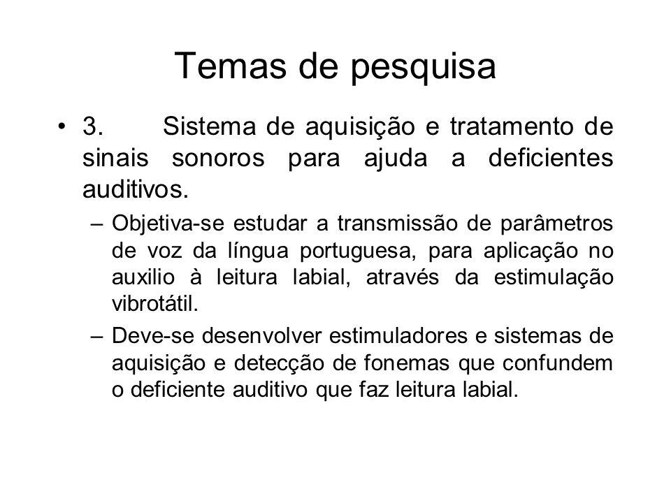 Temas de pesquisa 3. Sistema de aquisição e tratamento de sinais sonoros para ajuda a deficientes auditivos.