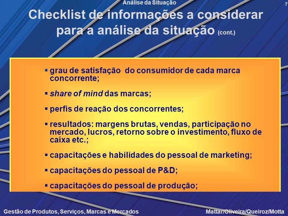 Checklist de informações a considerar para a análise da situação (cont