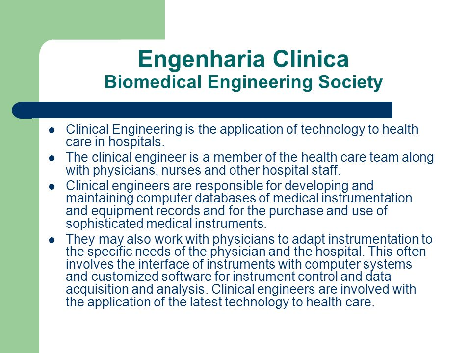 Engenharia Clinica Biomedical Engineering Society