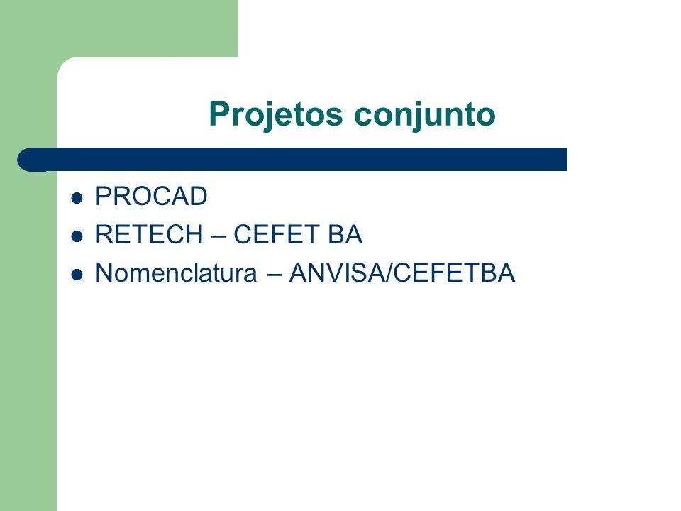 Projetos conjunto PROCAD RETECH – CEFET BA