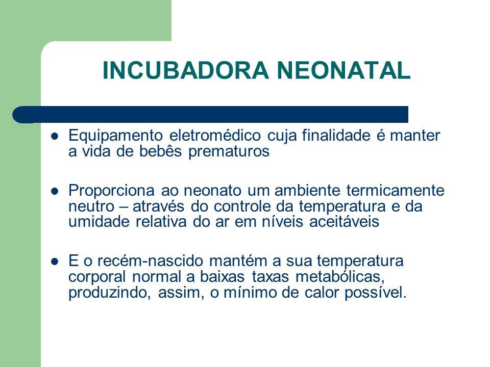 INCUBADORA NEONATAL Equipamento eletromédico cuja finalidade é manter a vida de bebês prematuros.