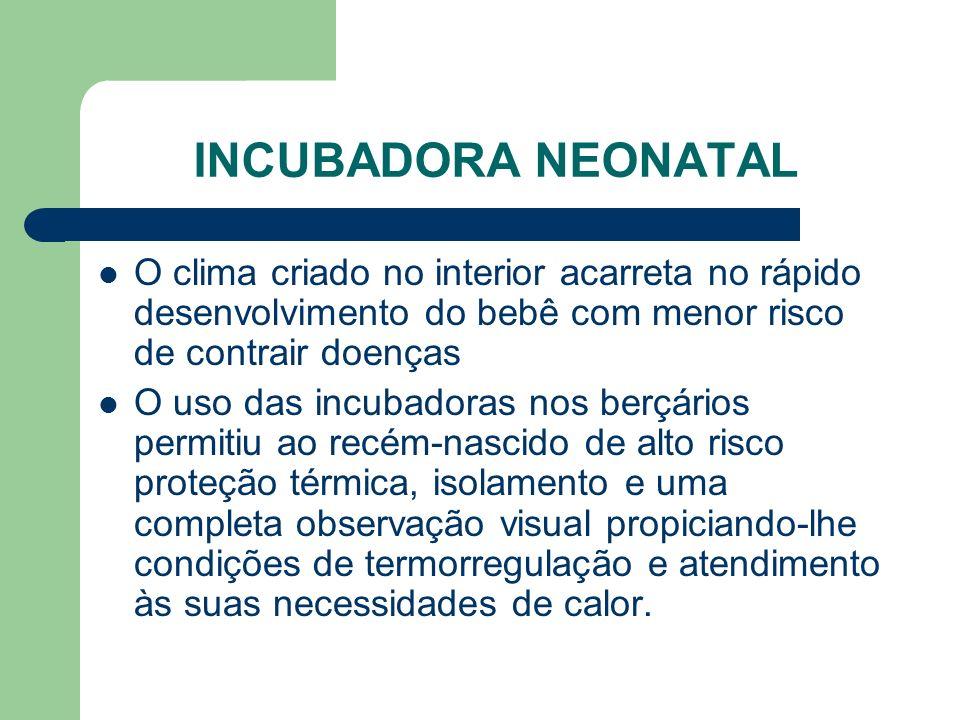 INCUBADORA NEONATAL O clima criado no interior acarreta no rápido desenvolvimento do bebê com menor risco de contrair doenças.