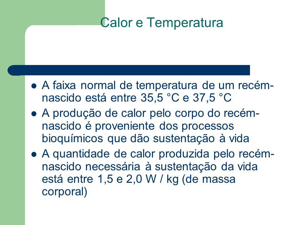Calor e Temperatura A faixa normal de temperatura de um recém-nascido está entre 35,5 °C e 37,5 °C.