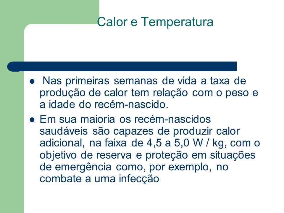 Calor e Temperatura Nas primeiras semanas de vida a taxa de produção de calor tem relação com o peso e a idade do recém-nascido.