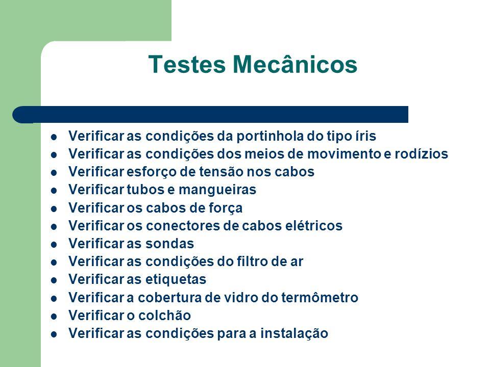 Testes Mecânicos Verificar as condições da portinhola do tipo íris