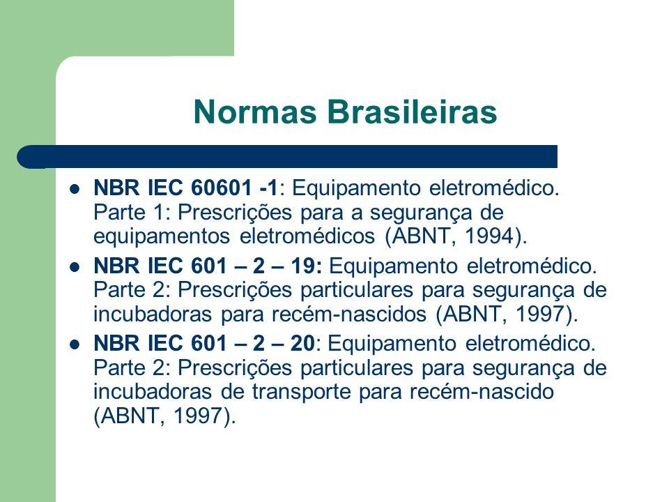 Normas Brasileiras NBR IEC 60601 -1: Equipamento eletromédico. Parte 1: Prescrições para a segurança de equipamentos eletromédicos (ABNT, 1994).