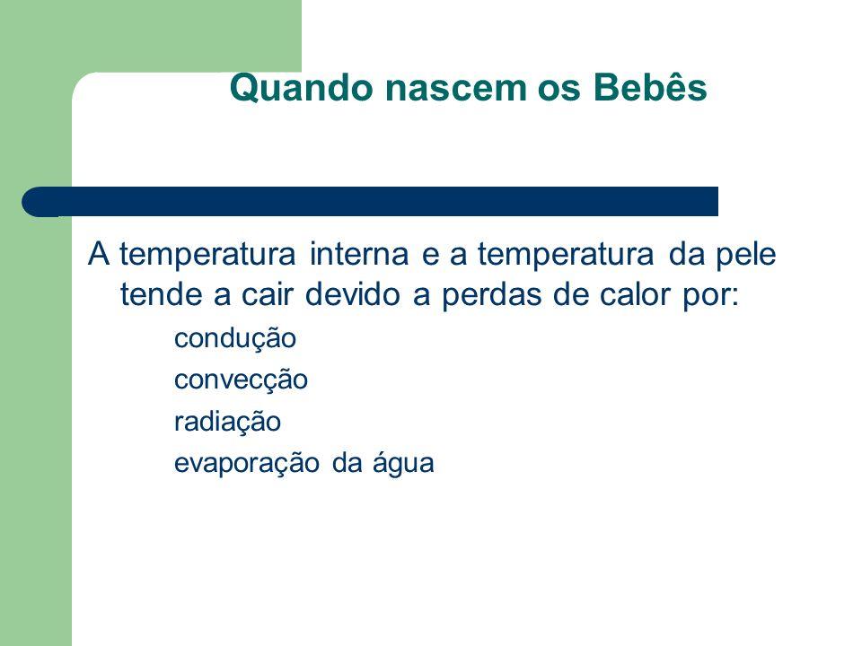 Quando nascem os Bebês A temperatura interna e a temperatura da pele tende a cair devido a perdas de calor por: