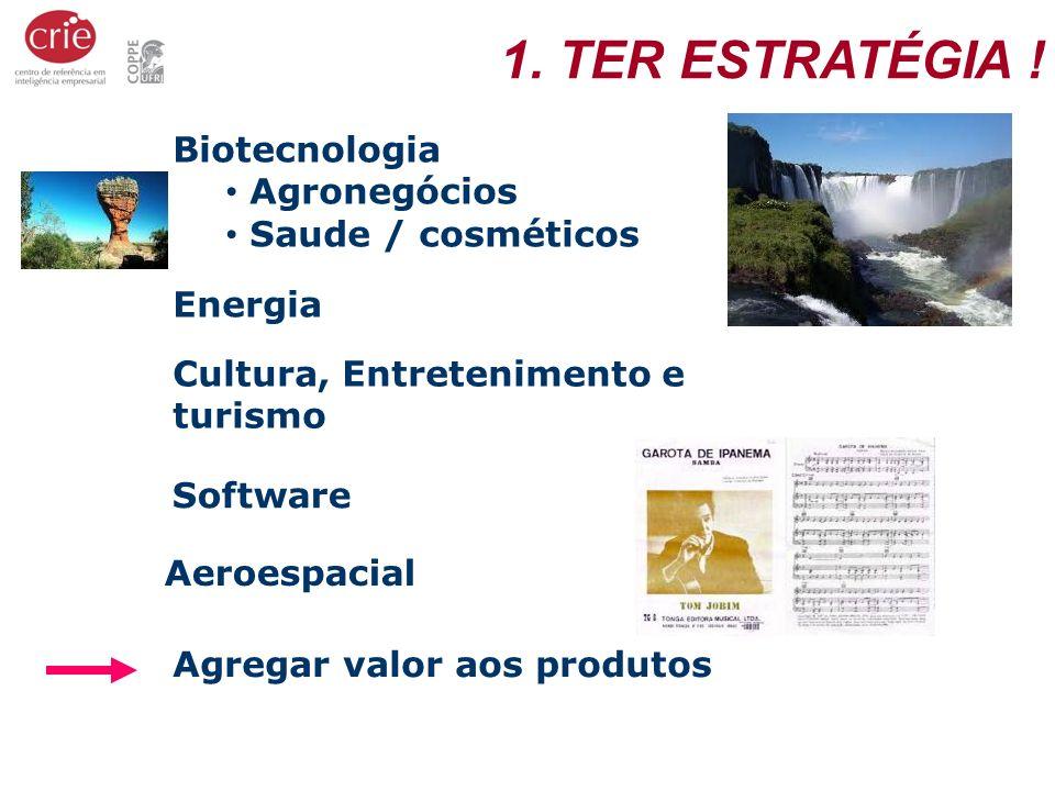 1. TER ESTRATÉGIA ! Biotecnologia Agronegócios Saude / cosméticos