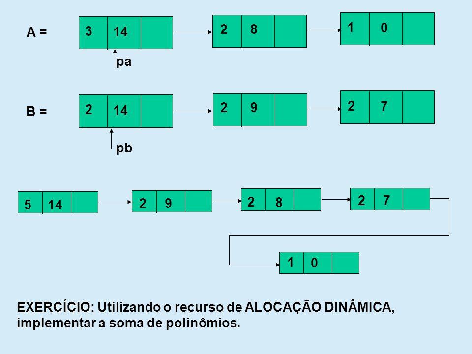 3 14. 2. 8. 1. A = pa. 2. 14. 9. 7. B = pb. 5. 14. 2. 9. 8. 7. 1. EXERCÍCIO: Utilizando o recurso de ALOCAÇÃO DINÂMICA,