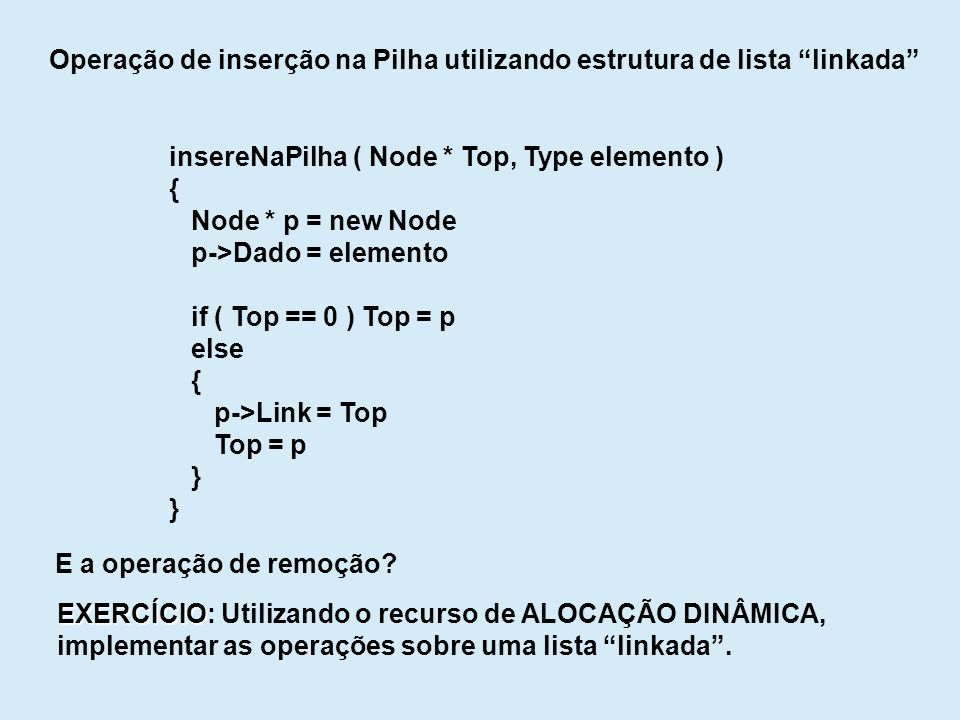 Operação de inserção na Pilha utilizando estrutura de lista linkada