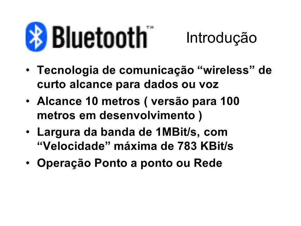 Introdução Tecnologia de comunicação wireless de curto alcance para dados ou voz. Alcance 10 metros ( versão para 100 metros em desenvolvimento )